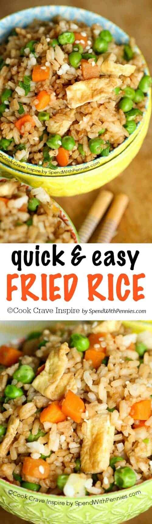 This quick and easy Fried Rice recipe is one of our favorites! You can add any kind of vegetable or protein so it's the perfect way to enjoy any leftovers you might have! The best part is that it takes just about 15 minutes!