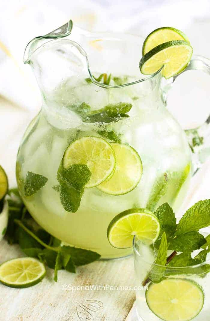 Classic Mojito in glass serving container