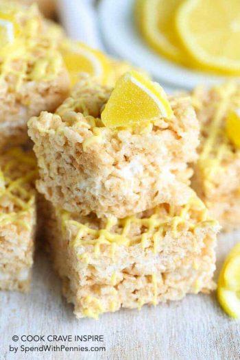 Lemon Rice Krispie Treats garnished with a lemon candy