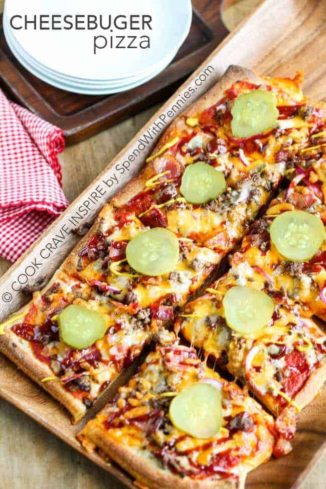 Cheeseburger Pizza is perfect for a weeknight meal or for game day! A delicious crust loaded lean beef, bacon and of course tons of yummy cheese! Top it with all of your favorite cheeseburger toppings for a family favorite meal!