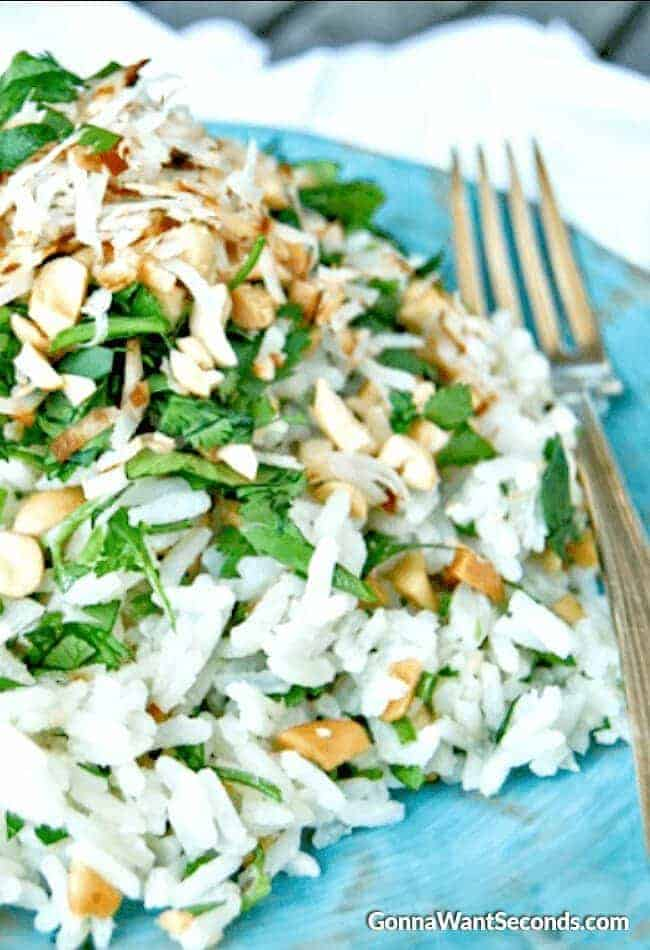 Coconut Rice. This simple side dish is easy to make and has loads of flavor!