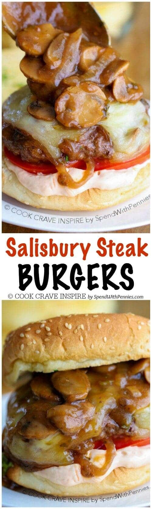 collage of Salisbury Steak Burgers