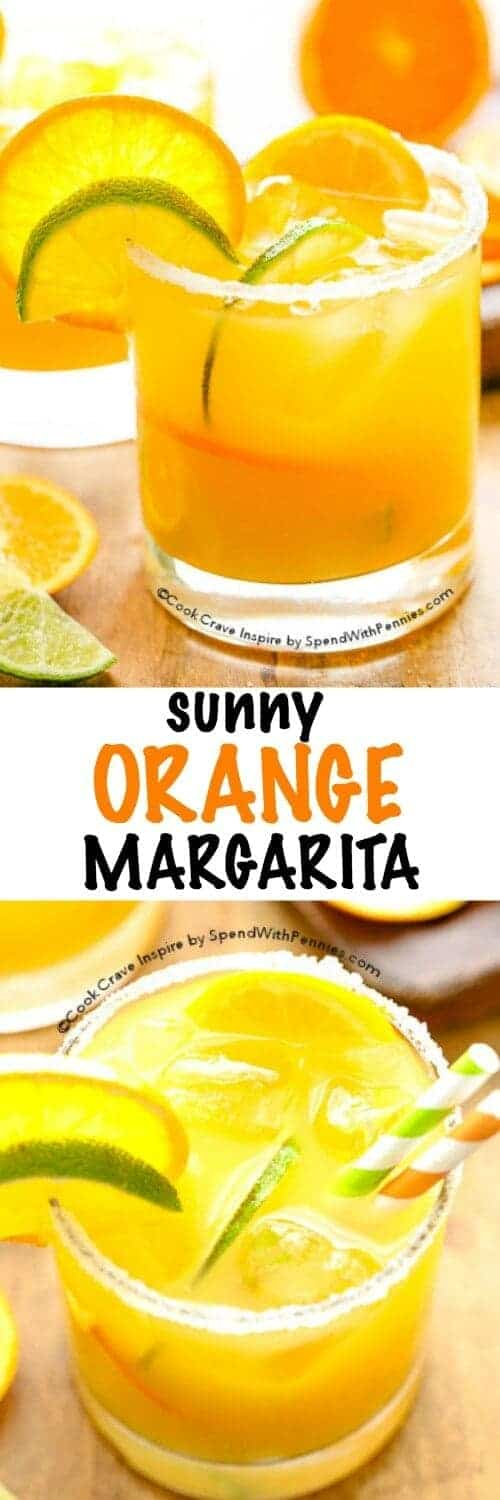 This Sunny Orange Margarita recipe is great, a little sweet, a little tart & so refreshing! Fresh lime juice & orange juice along with tequila creates the perfect cocktail!