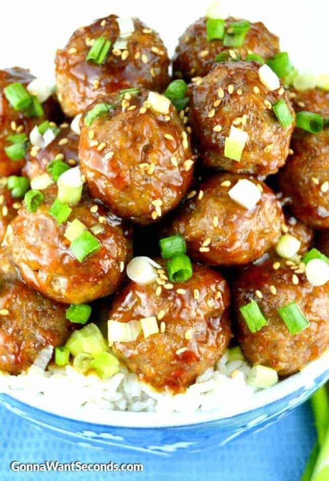 Teriyaki Meatballs. These meatballs are hearty but tender and totally crazy delicious!