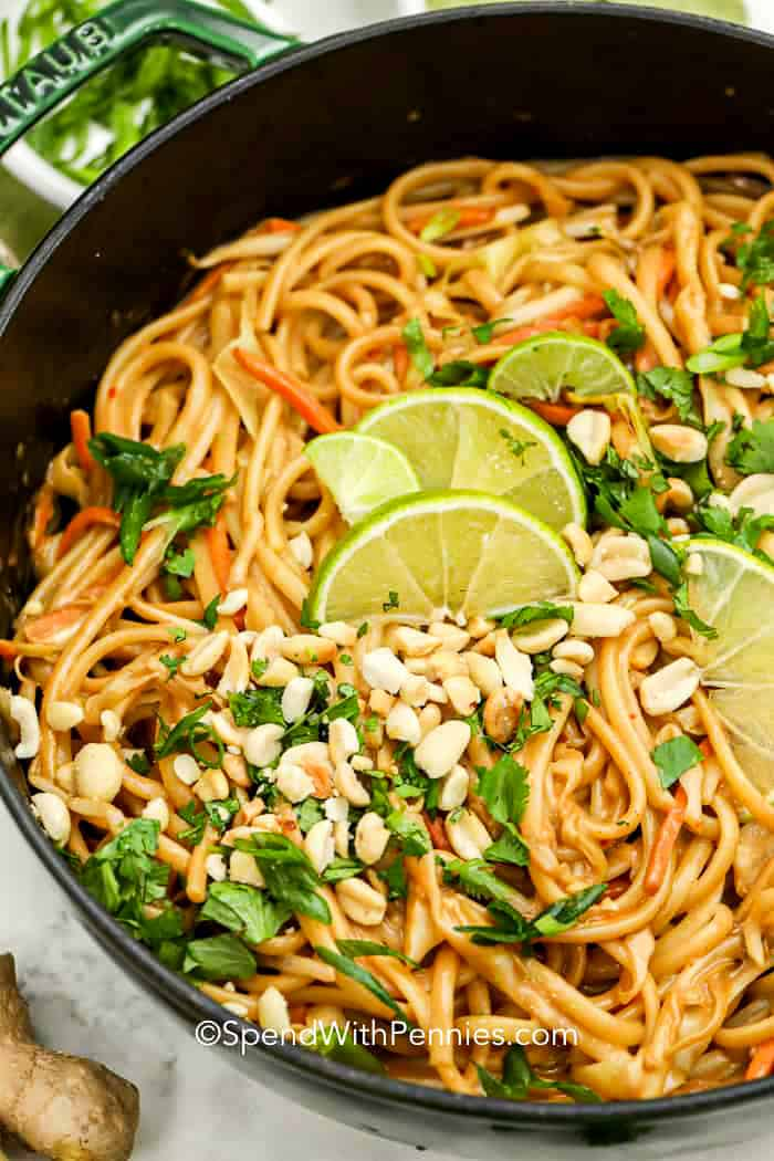 Creamy Peanut Thai Noodles Ready In 45 Mins Spend With Pennies