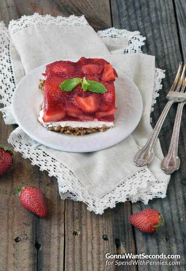 Strawberry Pretzel Salad~This old fashion dessert has been every ones favorite for decades, so you know it's gotta be fabulous! It's the perfect combo of sweet and salty, crunchy and creamy. Great for holidays, potlucks and just about any time you need a yummy dessert!