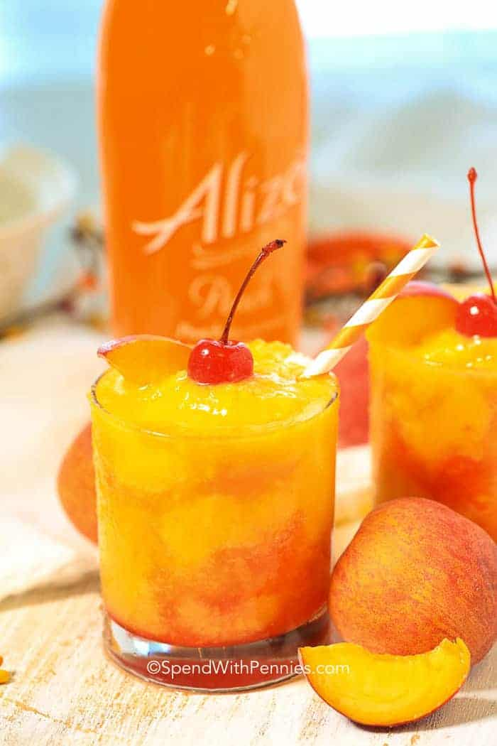 peach cocktail with peaches