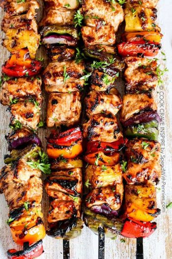 Overhead shot of grilled hawaiian chicken kabobs