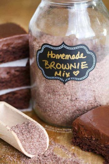 Labled glass jar of Homemade Brownie Mix