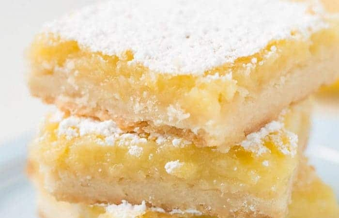 Stacked Lemon Bars With a Powered Sugar Topping