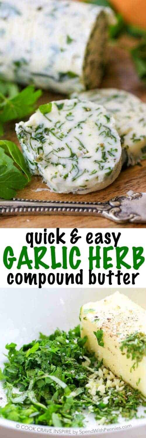 Garlic Herb Compound Butter with a title