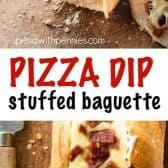 Pizza Dip Stuffed Baguette with a title