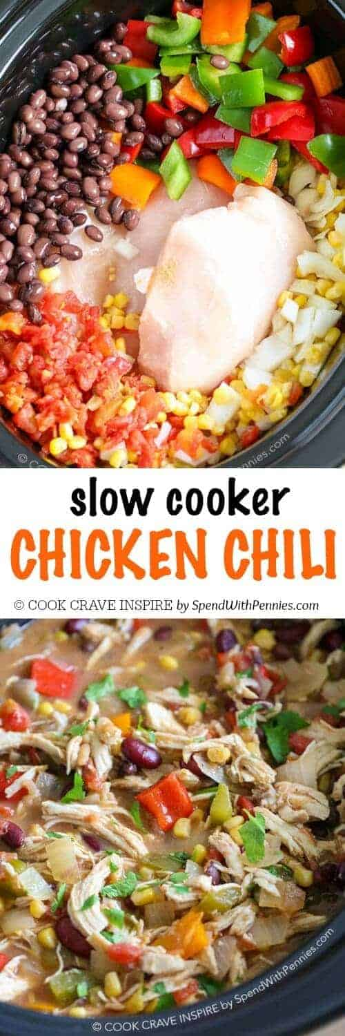 go to crock pot recipe because it's SO good! Slow Cooker Chicken Chili ...