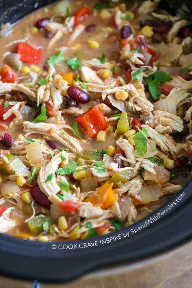 Overhead shot of Slow Cooker Chicken Chili