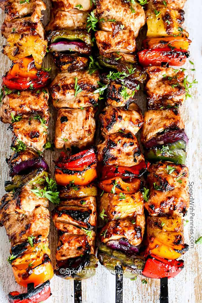 Four Grilled Hawaiian Chicken Kabobs
