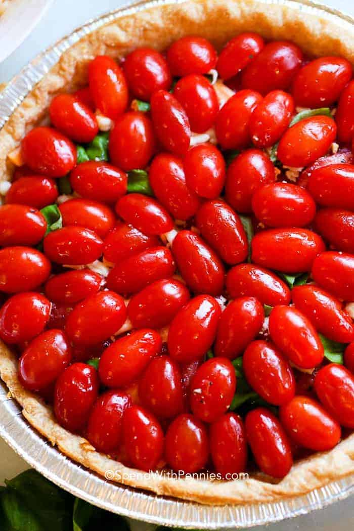 Cherry tomatoes arranged perfectly in a Tomato Pie