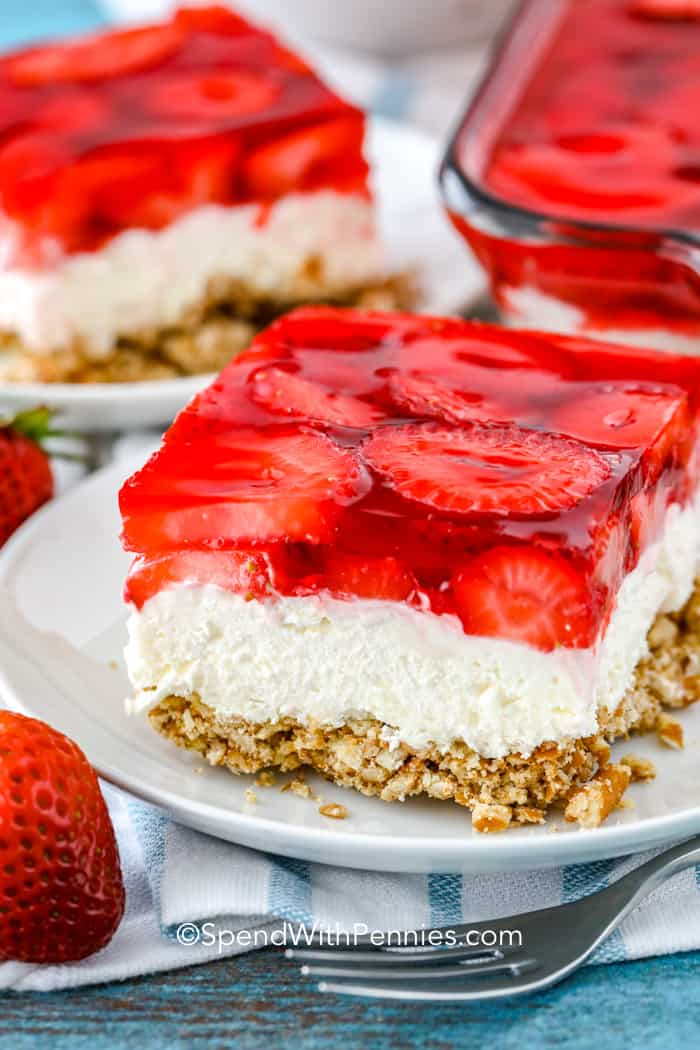 Strawberry Pretzel Salad served on a plate