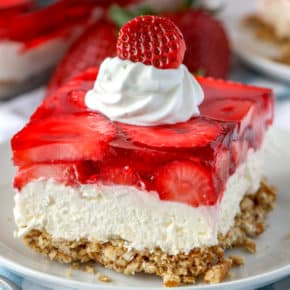 Strawberry Pretzel Salad on a plate