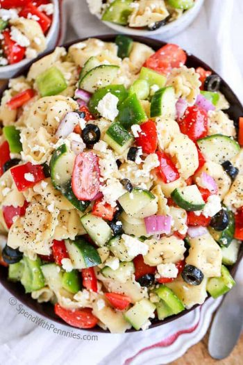 Overhead shot of Greek Tortellini Salad