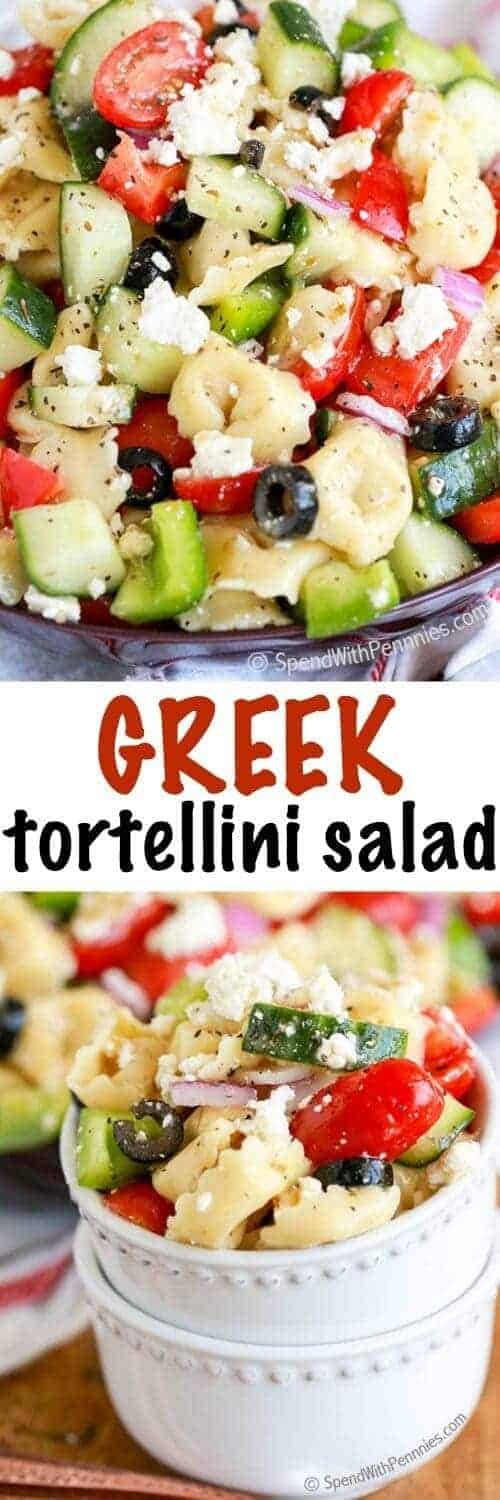 Greek Tortellini Salad with a title