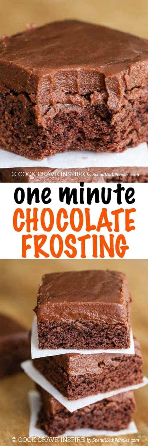 One Minute Chocolate Frosting with a title