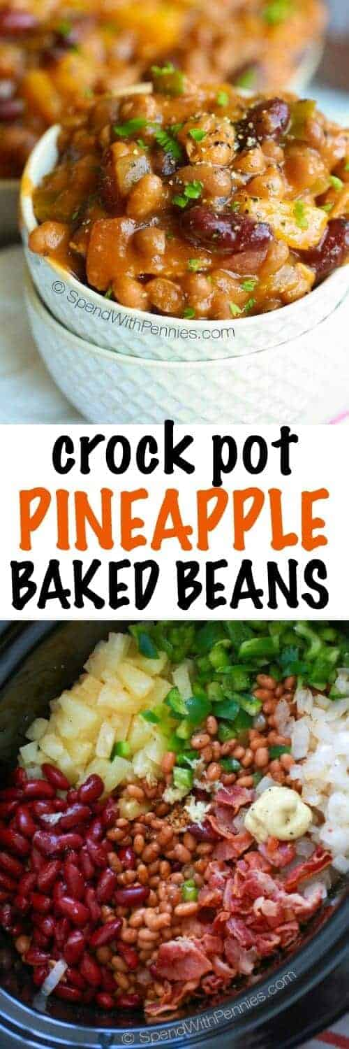 Pineapple Crock Pot Baked Beans with wording