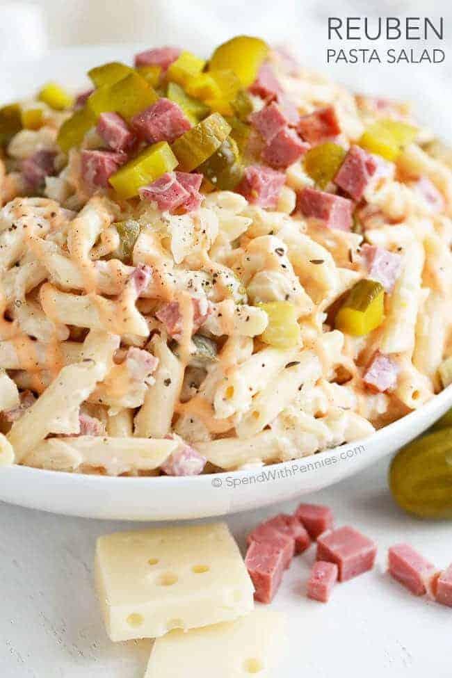 Reuben pasta salad with text
