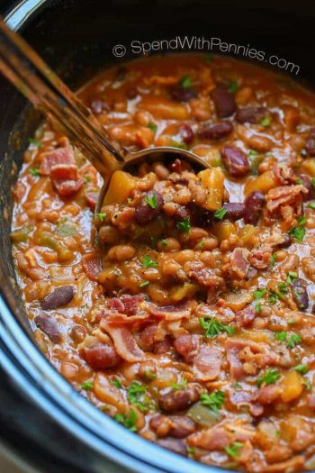Pineapple Crock Pot Baked Beans make for a one of a kind delicious side dish for your next BBQ or potluck.