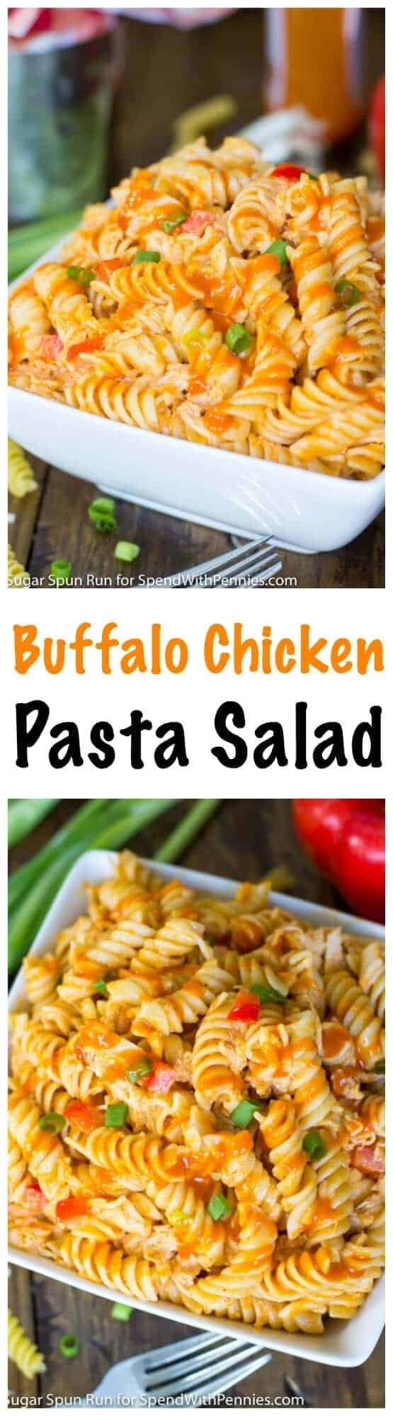 Buffalo Chicken Pasta Salad with text