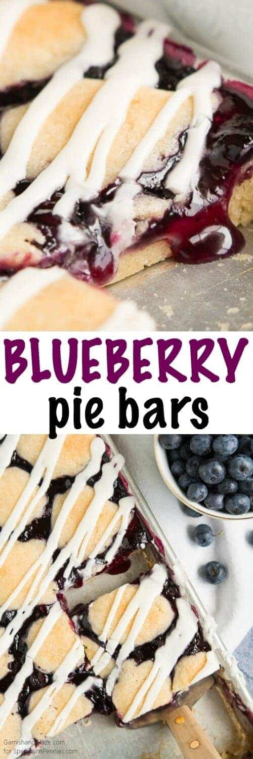 Blueberry Pie Bars with a title