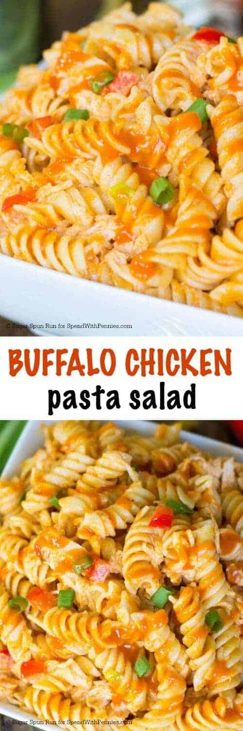 Buffalo Chicken Pasta Salad with a title