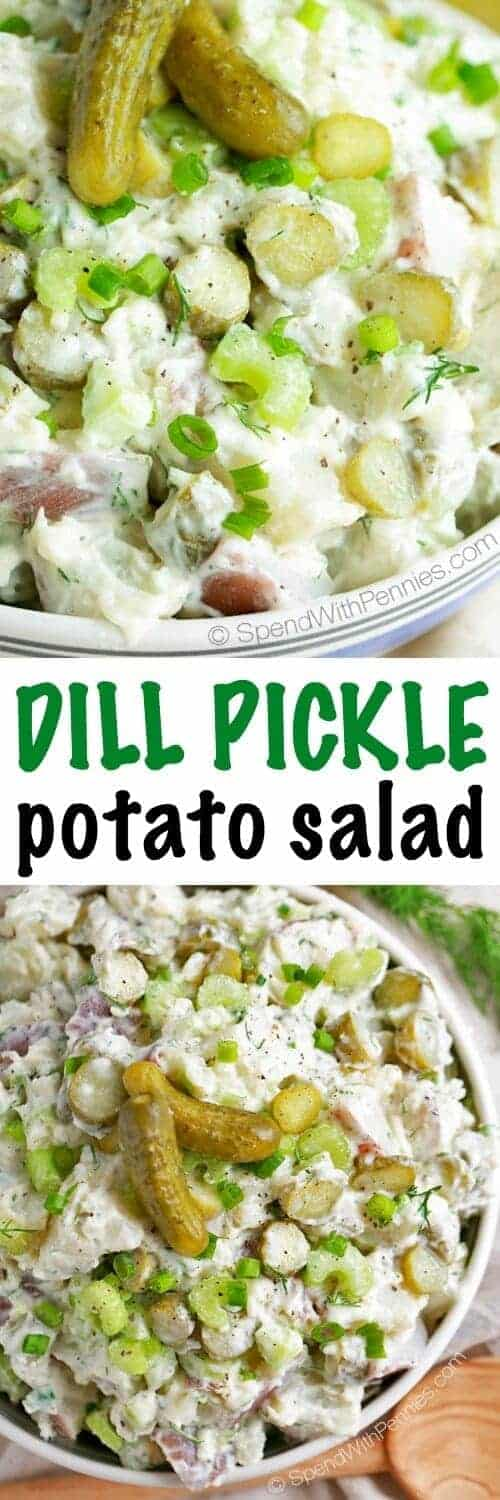 Dill Pickle Potato Salad with a title