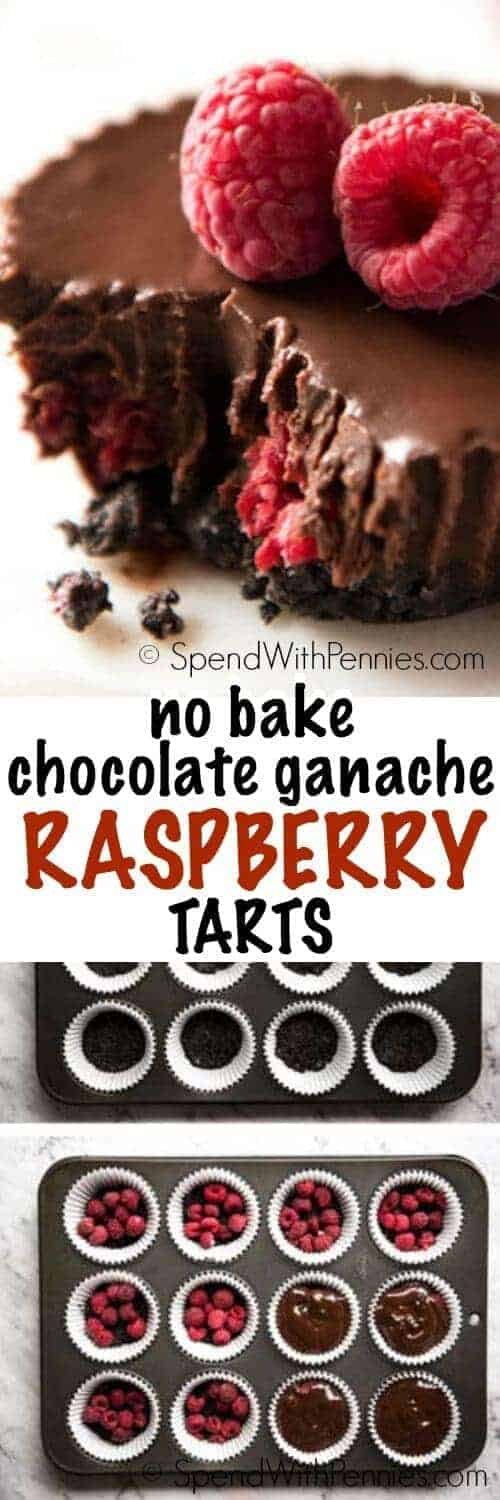 An Oreo cookie base, fresh tart juicy raspberries and luscious chocolate ganache. These gorgeous little tarts LOOK as incredible as they taste - and they're NO BAKE!!!