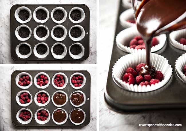 Chocolate Ganache Raspberry Tarts - Made in a muffin tin, these tarts have an Oreo cookie base, lovely tart raspberries in the middle and covered in gorgeous chocolate ganache!