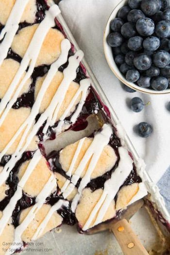 Blueberry Pie Bars are the perfect easy treat to throw together for the pie lovers in your life. No rolling pin required!