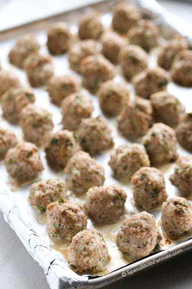 Sheet pan full of turkey meatballs
