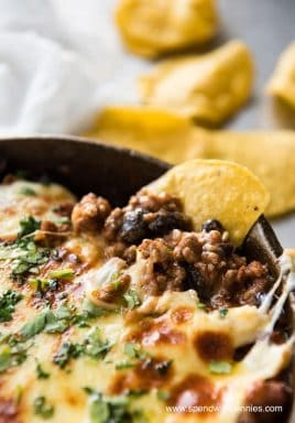 Beef Enchilada Dip - All the fixings of Enchiladas, in a hot bubbly dip!