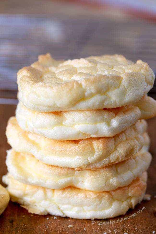 Cloud Bread is an easy to make, light and fluffy bread substitute. These are low carb, under 40 calories each and the perfect way to lighten up a sandwich!