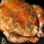 Overhead shot of a whole chicken rubbed with spices in a slow cooker