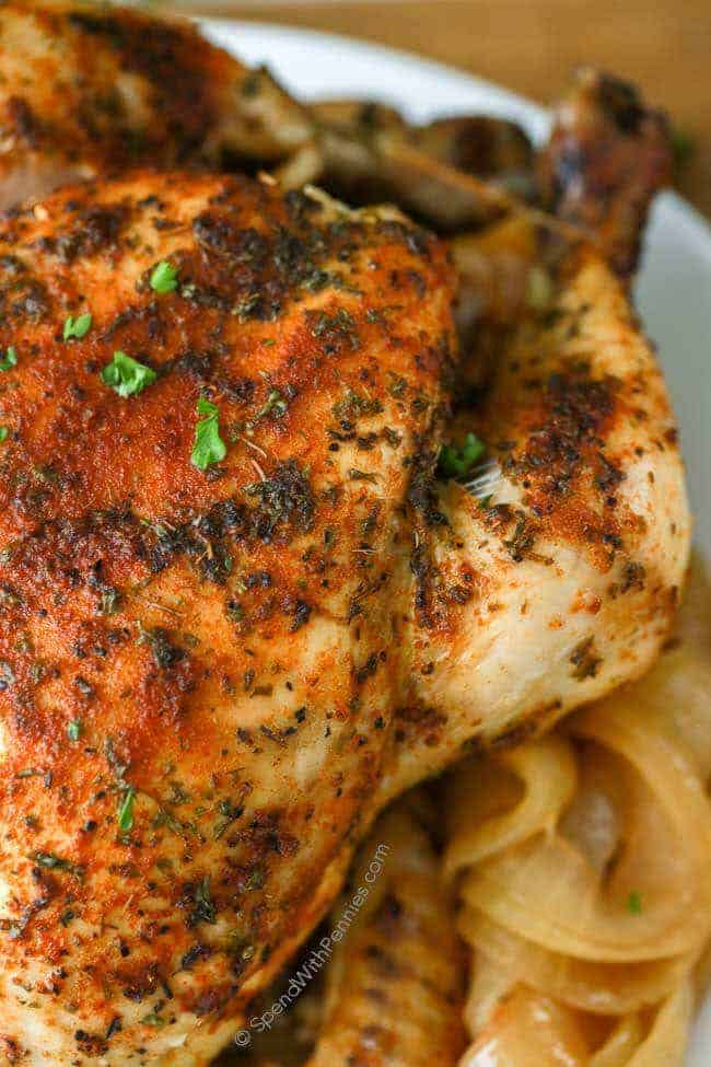 Close up photo of chicken cooked in the crockpot