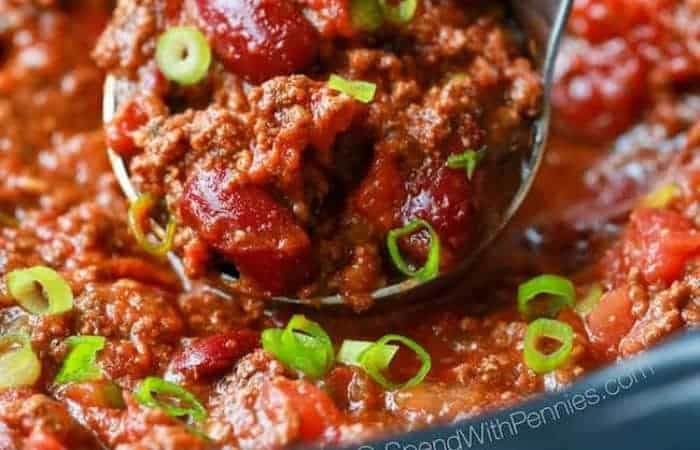 Closeup of Easy Crock Pot Chili on spoon