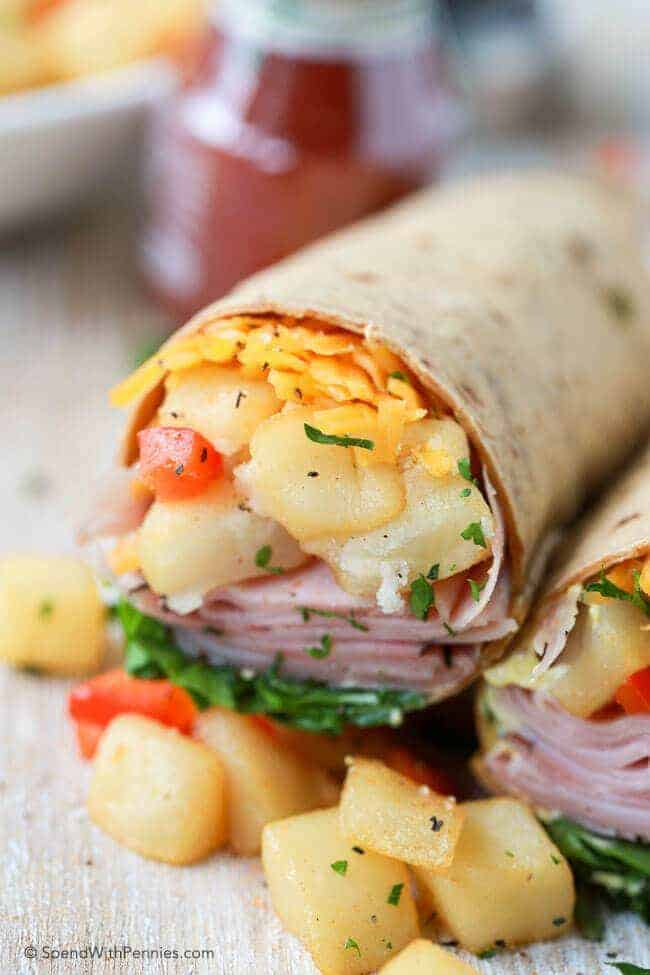 Ham & Hash Brown Breakfast Wrap with potato cubes