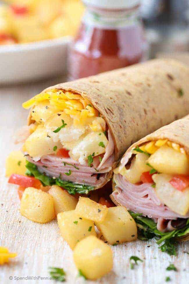 Ham & Hash Brown Breakfast Wraps (without eggs) are the perfect breakfast on the go or lunch! Because they contain no eggs, no heating is required!