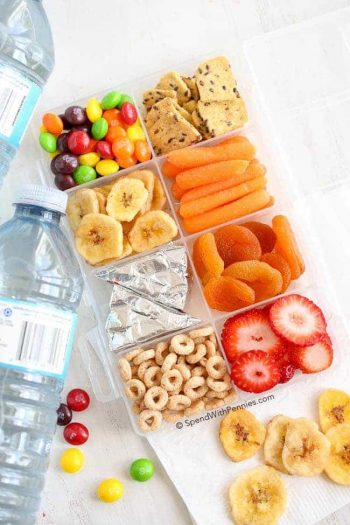 Bottle of water and a sectioned plastic container full of snacks like carrots, Skittles, Cheerios and fruit