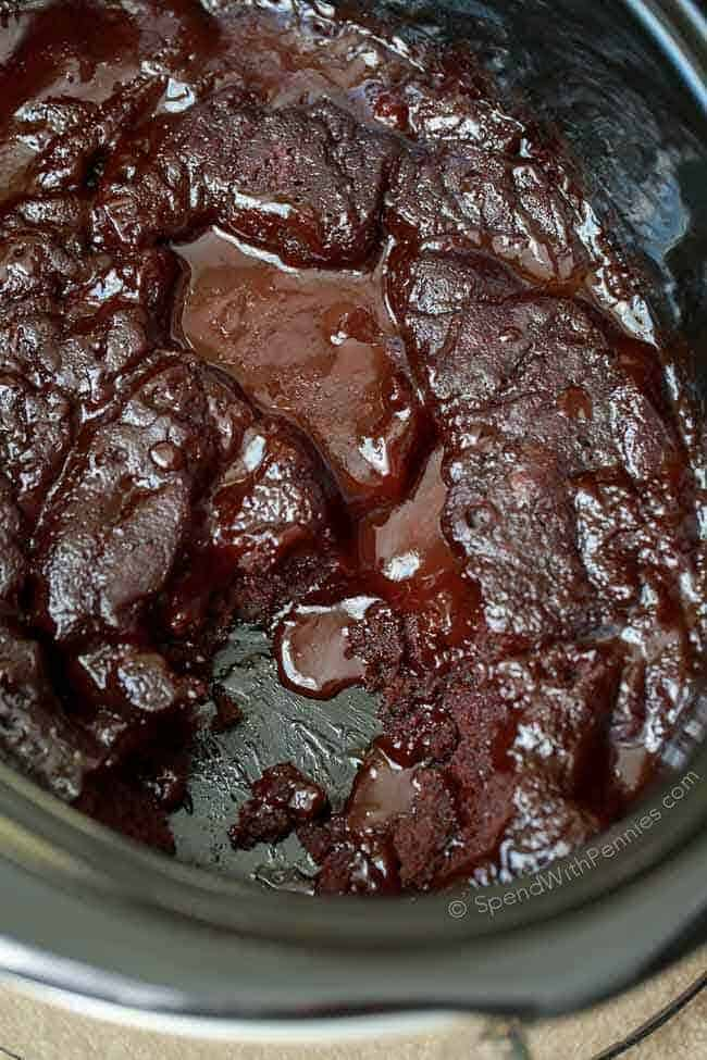Hot Fudge Slow Cooker Brownies-23