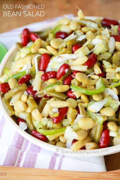 Old fashioned bean salad in a bowl.