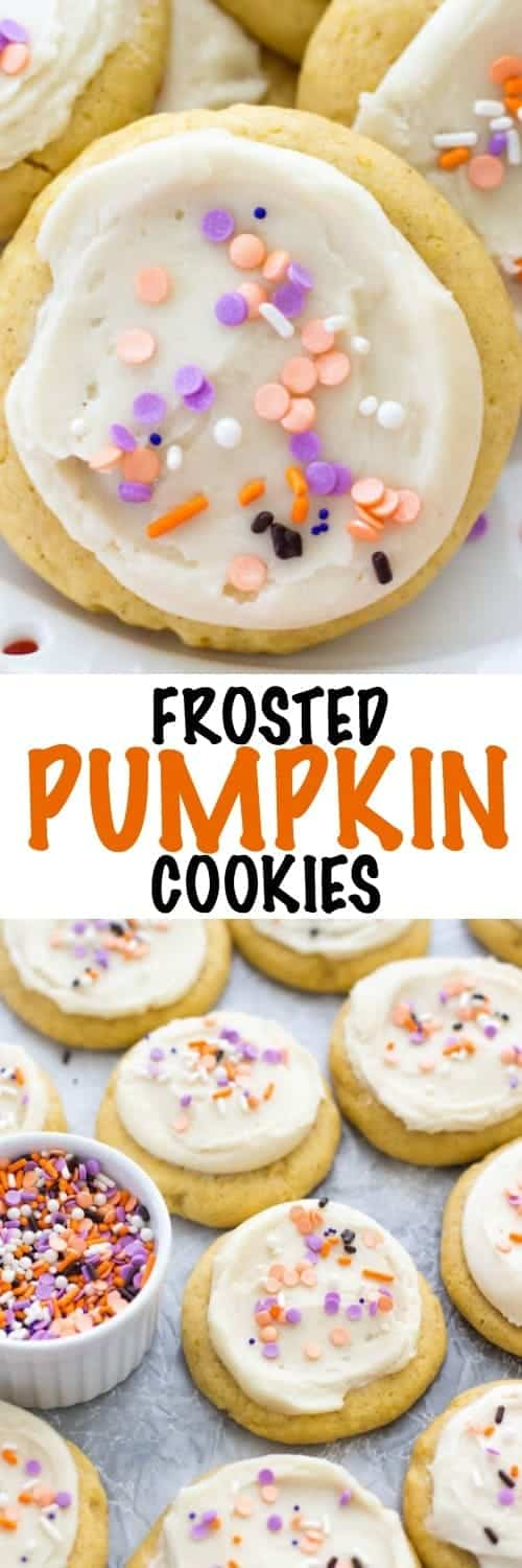 These frosted pumpkin cookies have a super soft pumpkin sugar cookie base and are topped with a deliciously easy cream cheese frosting! The perfect fall cookie!