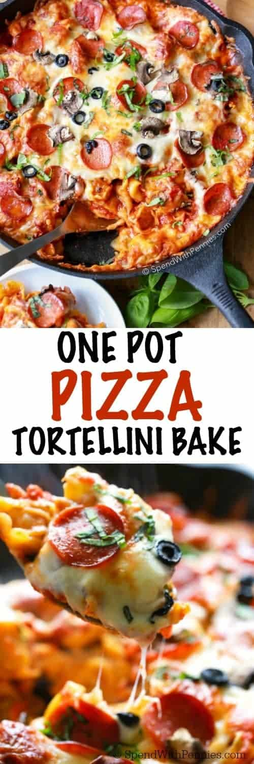 This quick and easy Pizza Tortellini Bake needs just one pan and 5 Minutes of prep (no pre-cooking the pasta required)! This pasta dish is the perfect weeknight meal. Add in your own favorite pizza toppings.