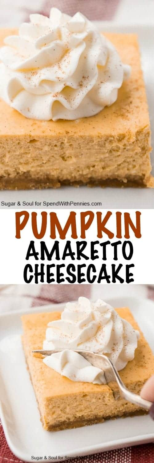 Pumpkin Amaretto Cheesecake with a title