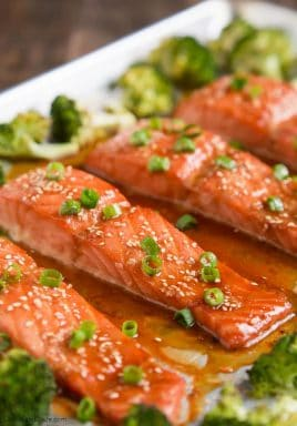 If you're looking for a super simple healthy dish to feed your family, this sweet and tangy One Pan Sesame Ginger Salmon and Broccoli is your answer!